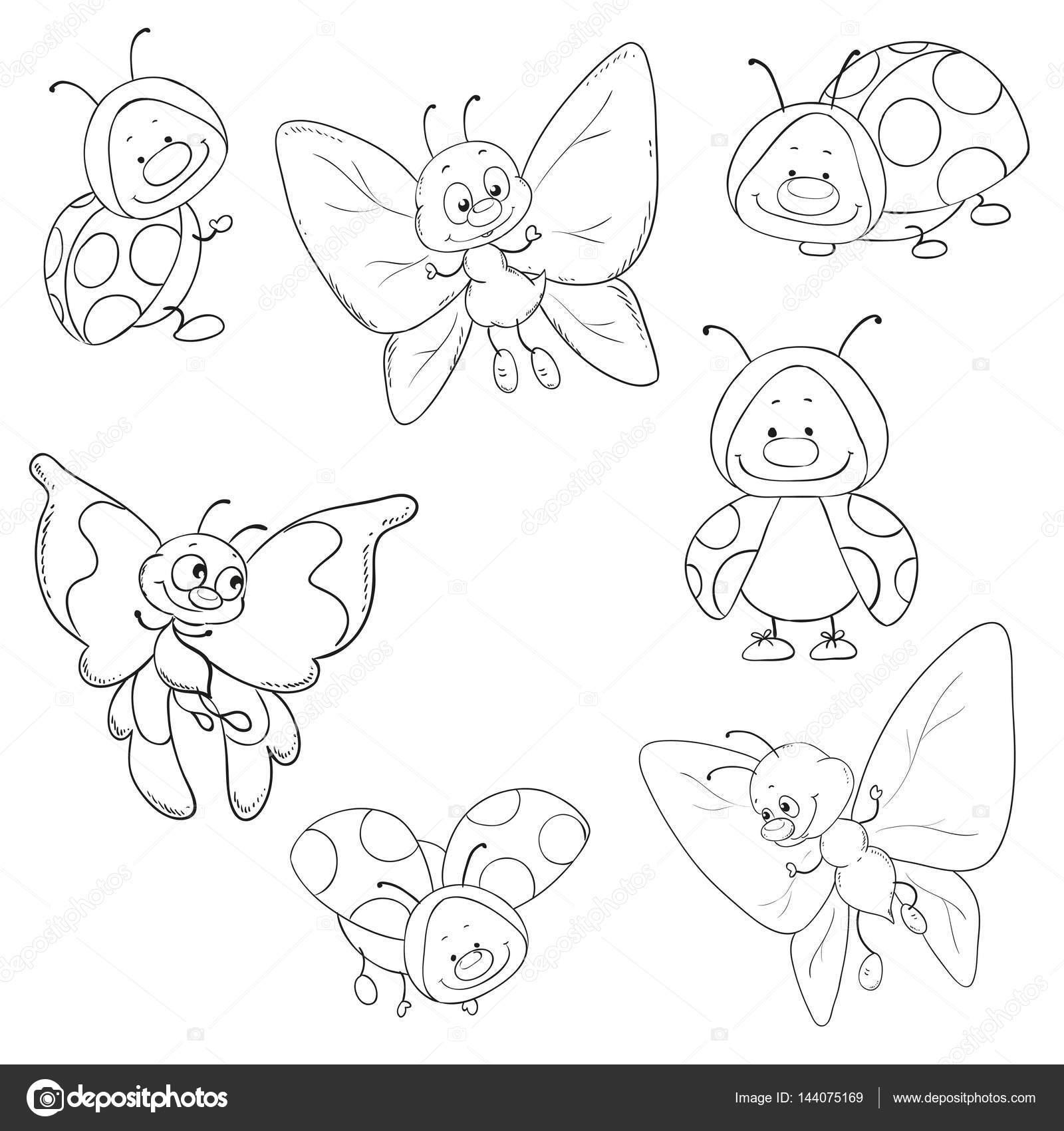 Conjunto de insectos vectores. Mariposas y mariquitas para colorear ...