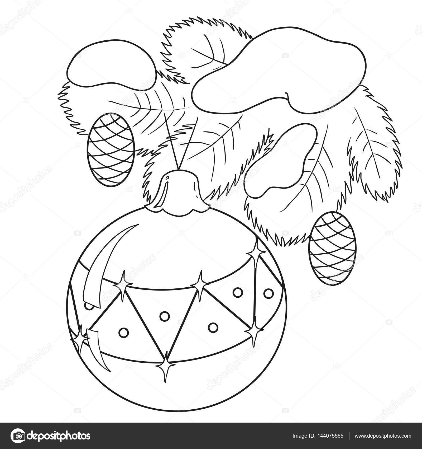 Juguete de la Navidad en el árbol de Navidad. Bola en la rama ...