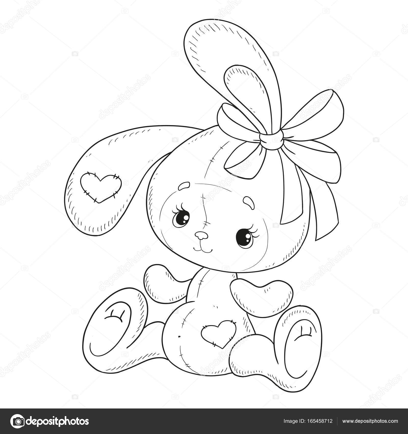 Vector Libro Para Colorear Conejo Con Lazo Liebre Peluche Contorno ...