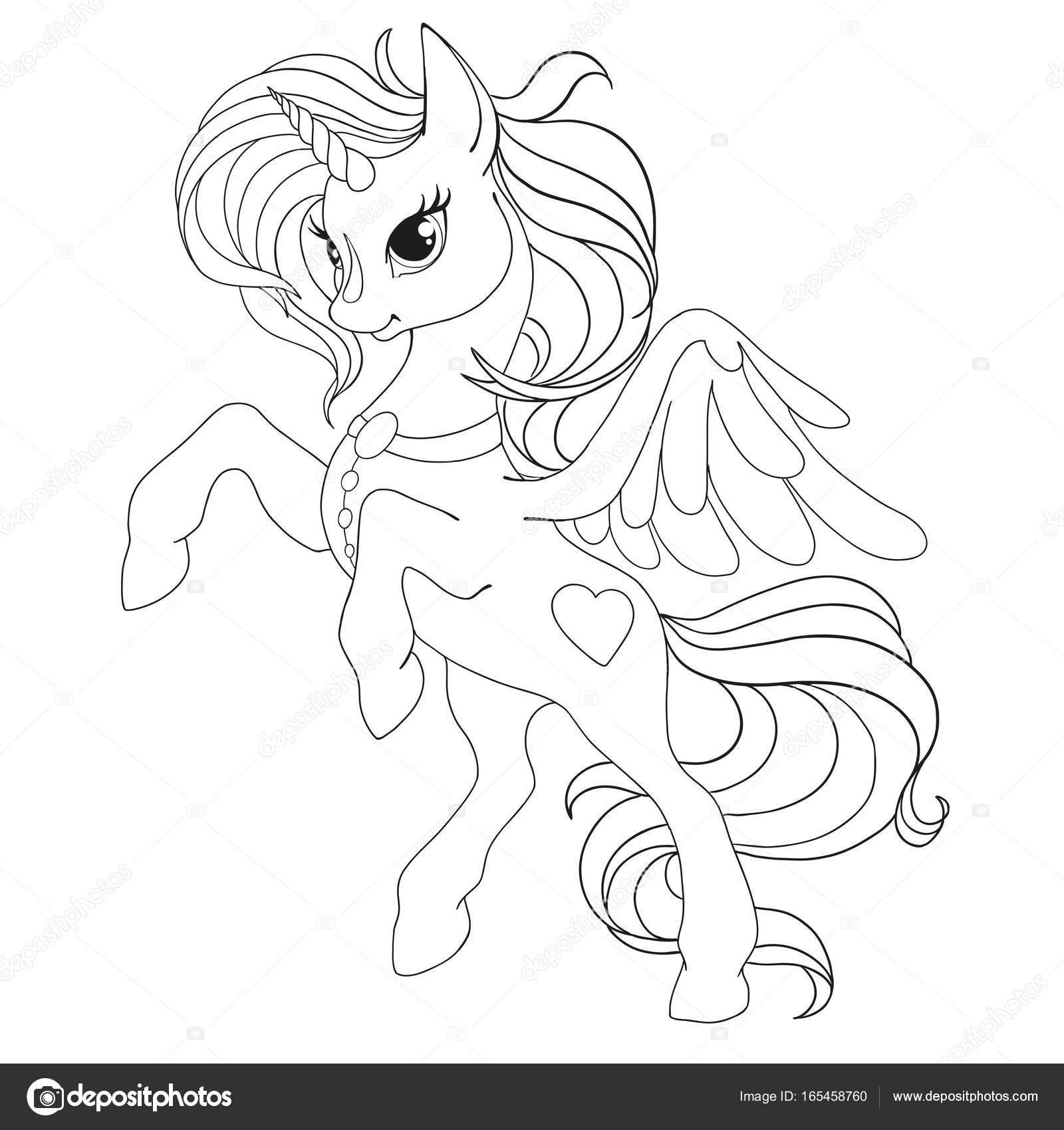 Página Libro Para Colorear Unicornio Fabuloso Caballo Con Alas ...