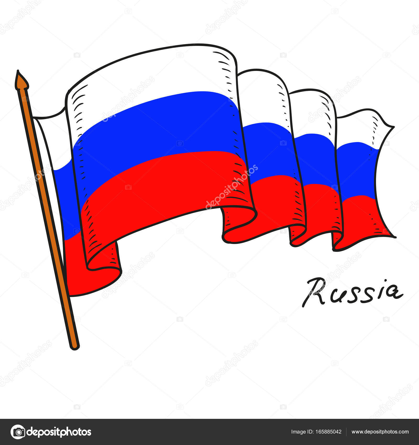 российский флаг картинки карандашом