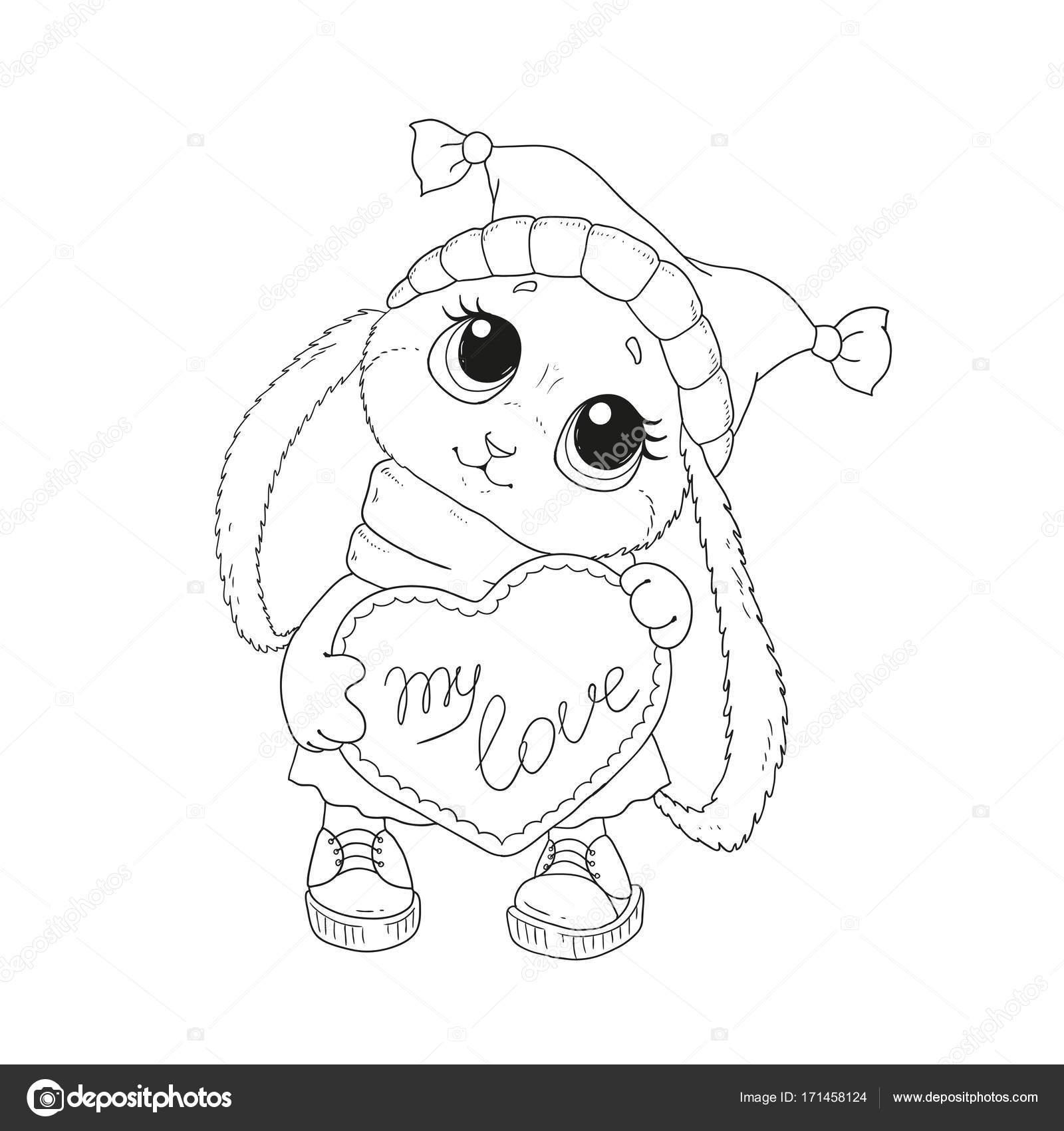 Conejo Con Corazon Para Pintar Hermoso Conejo Sombrero