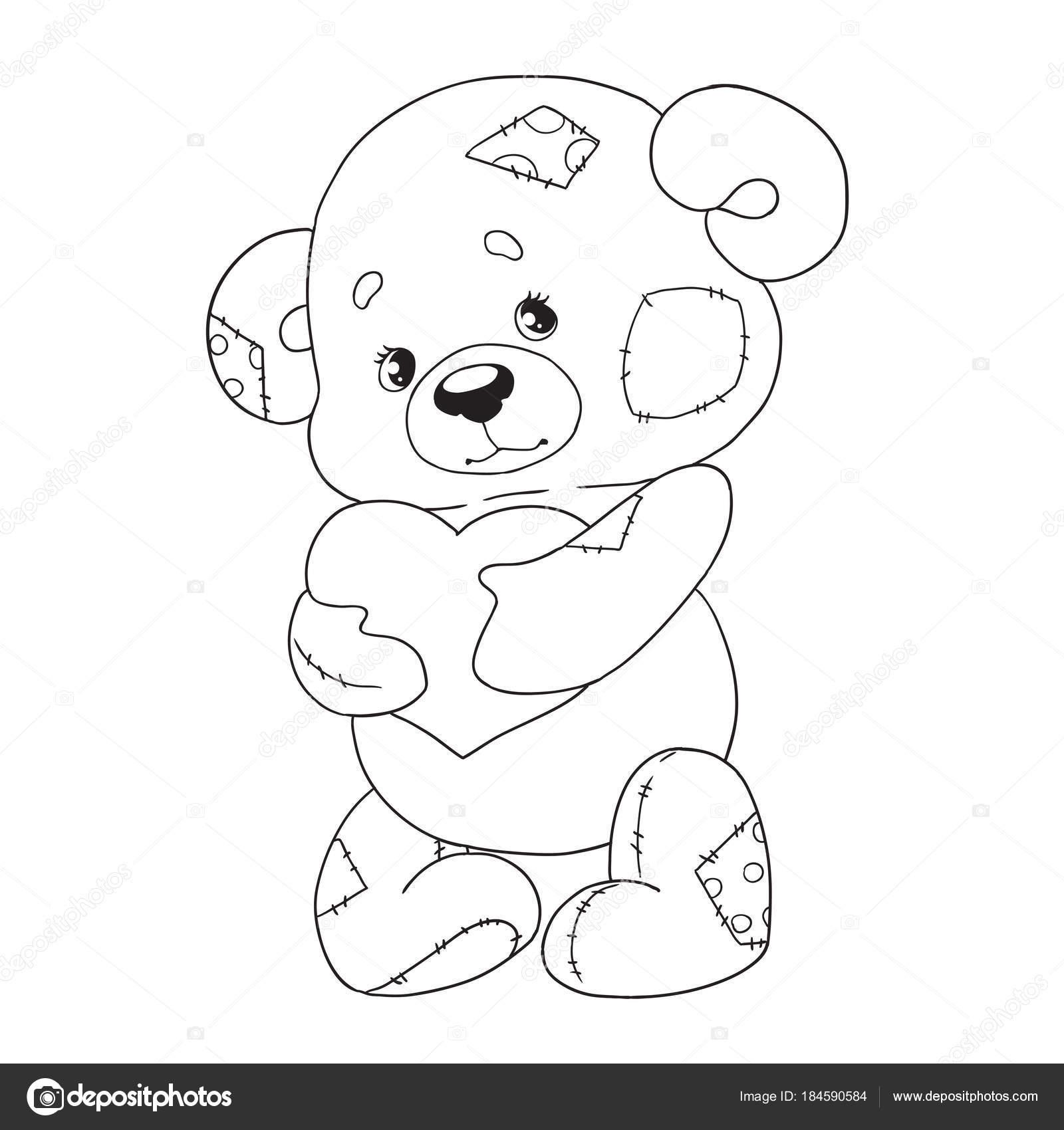 Niedlichen Cartoon Charakter Teddy. Bär mit Herz. Malbuch. Vektor ...