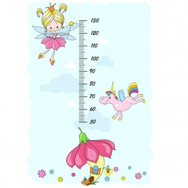 Stadiometer for children. Fairy tale characters. Fairy, unicorn, clouds on a blue background. Vector cartoon illustration. clip art vector