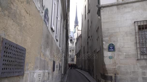 (4k) Historická středověká ulice v citaci Island v Paříži