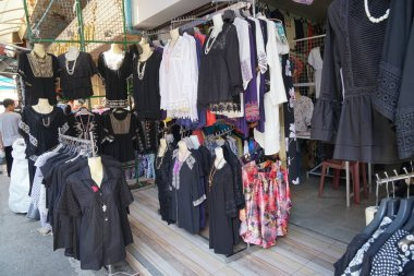 Chiang Mai, Thailand-Novemnber 14, 2016:Black occupied clothing stores in Thailand during mourning period