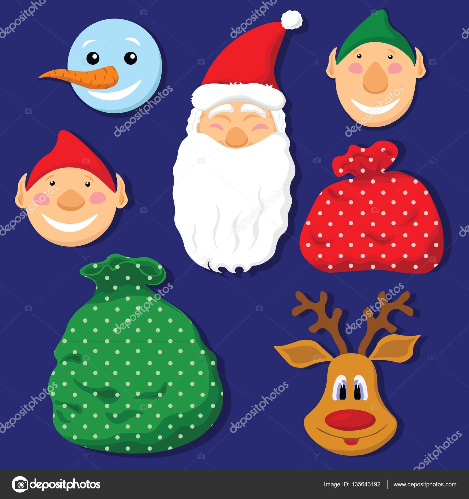 Christmas set mit Hirsch, Elfen, Weihnachtsmann, Schneemann und ...