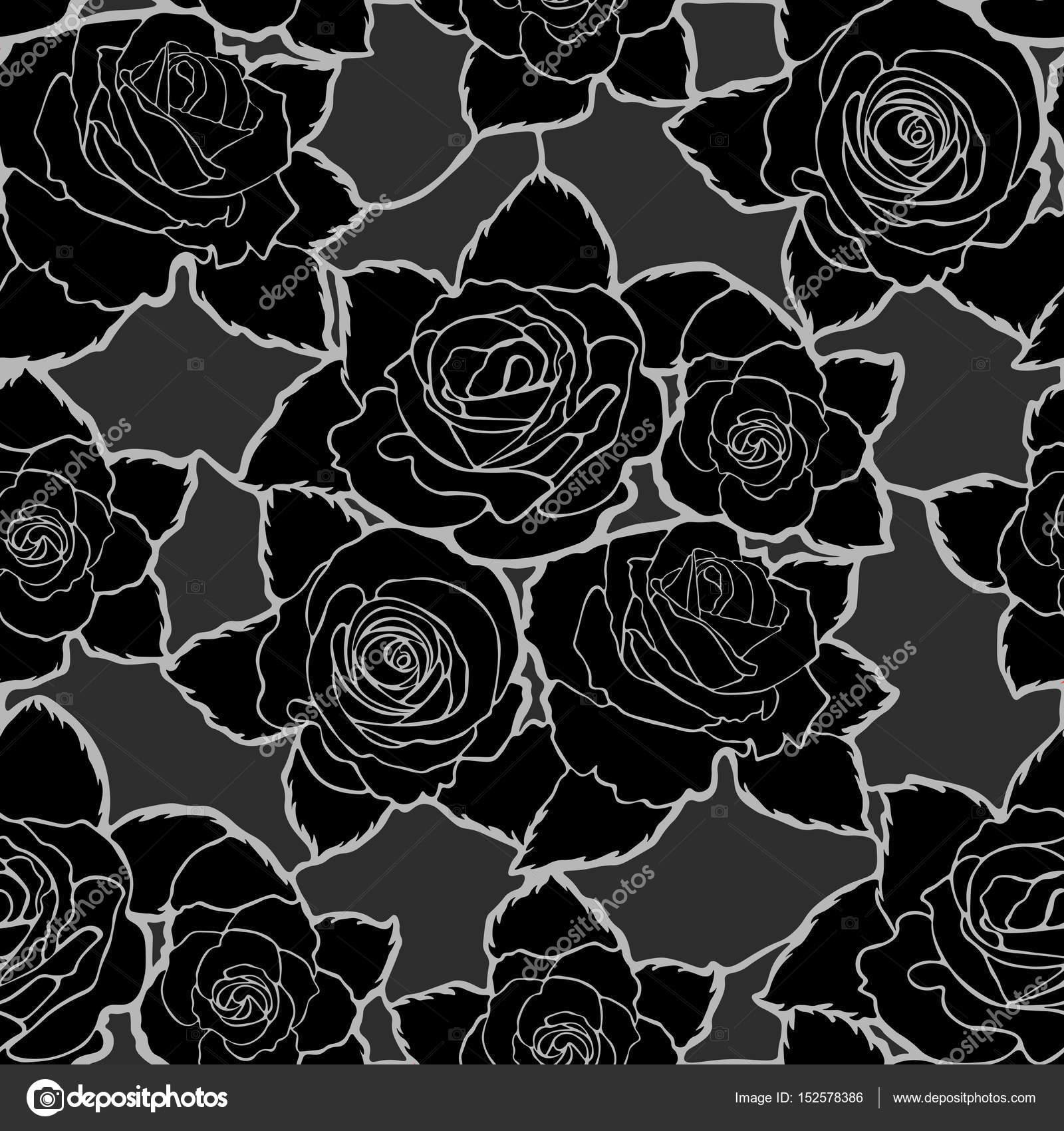 Modello Floreale Senza Cuciture Con Le Rose Nere Vettoriali Stock