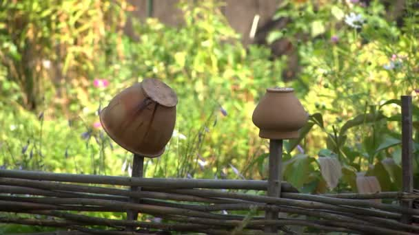 Old jugs hanging on a fence in an ethnographic museum as household items of ancient peoples