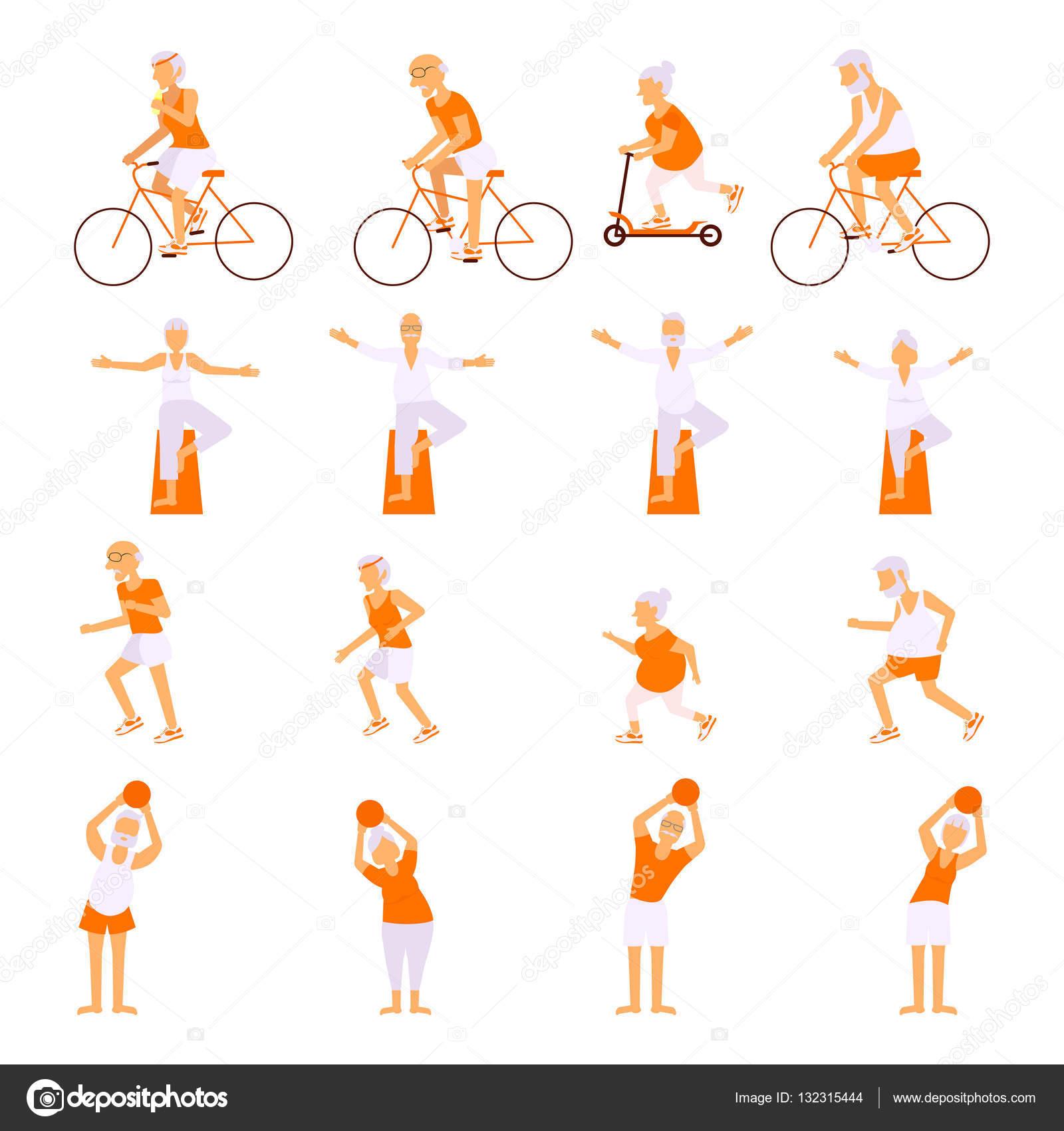 3344d705eab Σετ ηλικιωμένοι άνθρωποι κάνουν ασκήσεις — Διανυσματικό Αρχείο ...