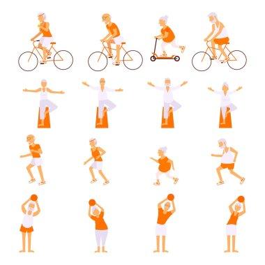 Set Elderly people doing exercises