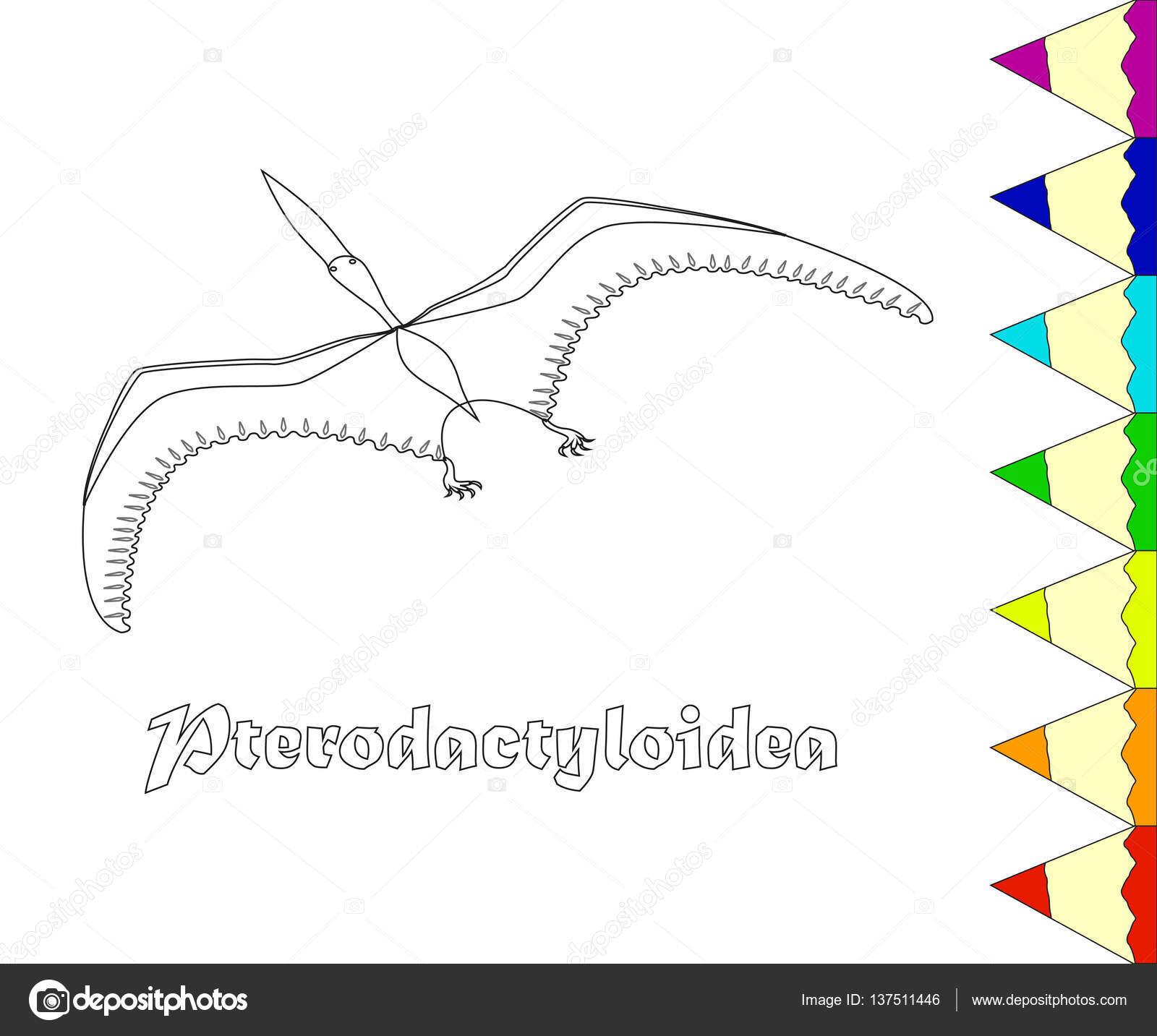 Malvorlagen Dinosaurier, Pterodactyloidea, — Stockvektor ...