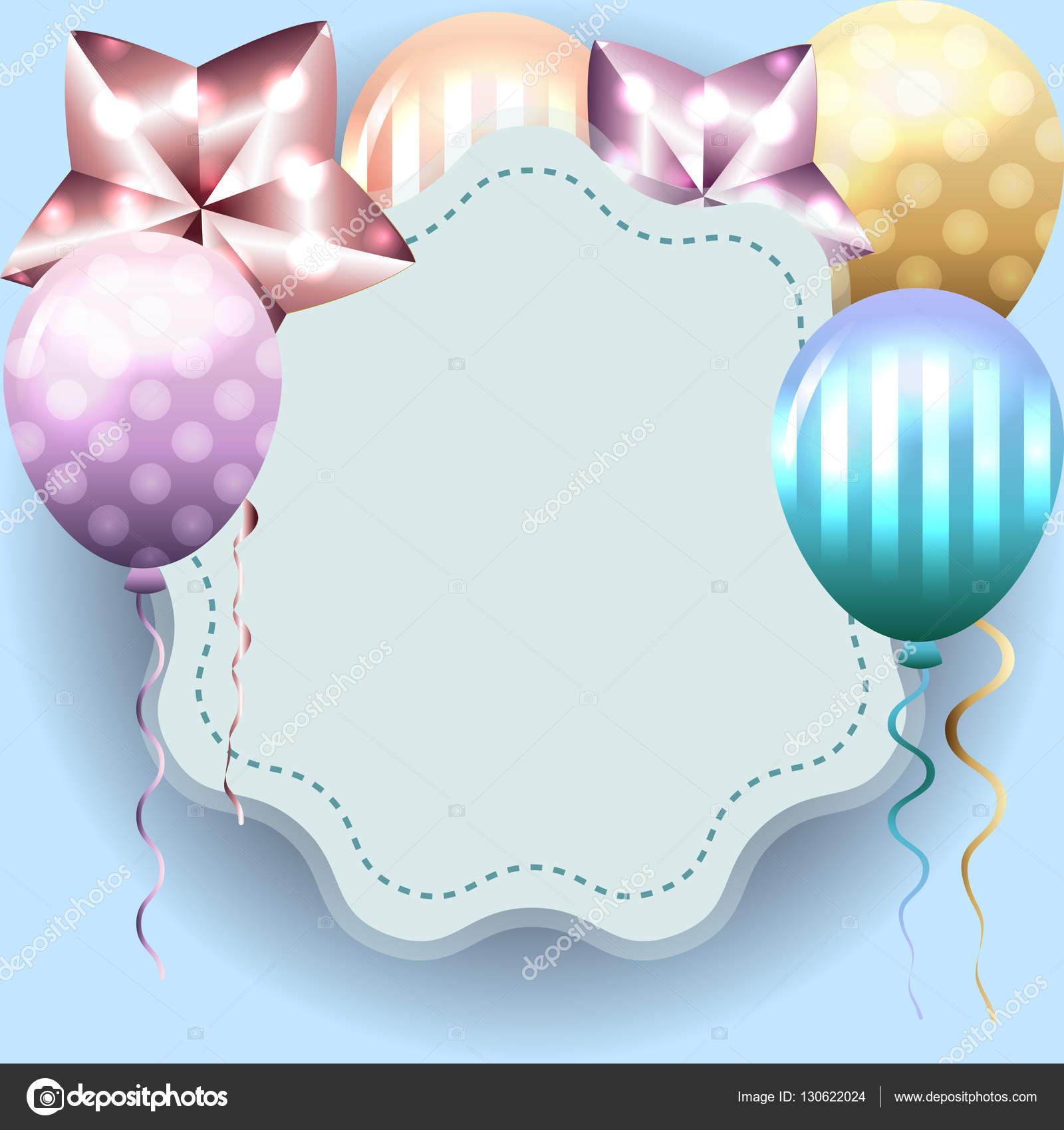 Linda plantilla para tarjeta de cumpleaños, invitación con marco ...