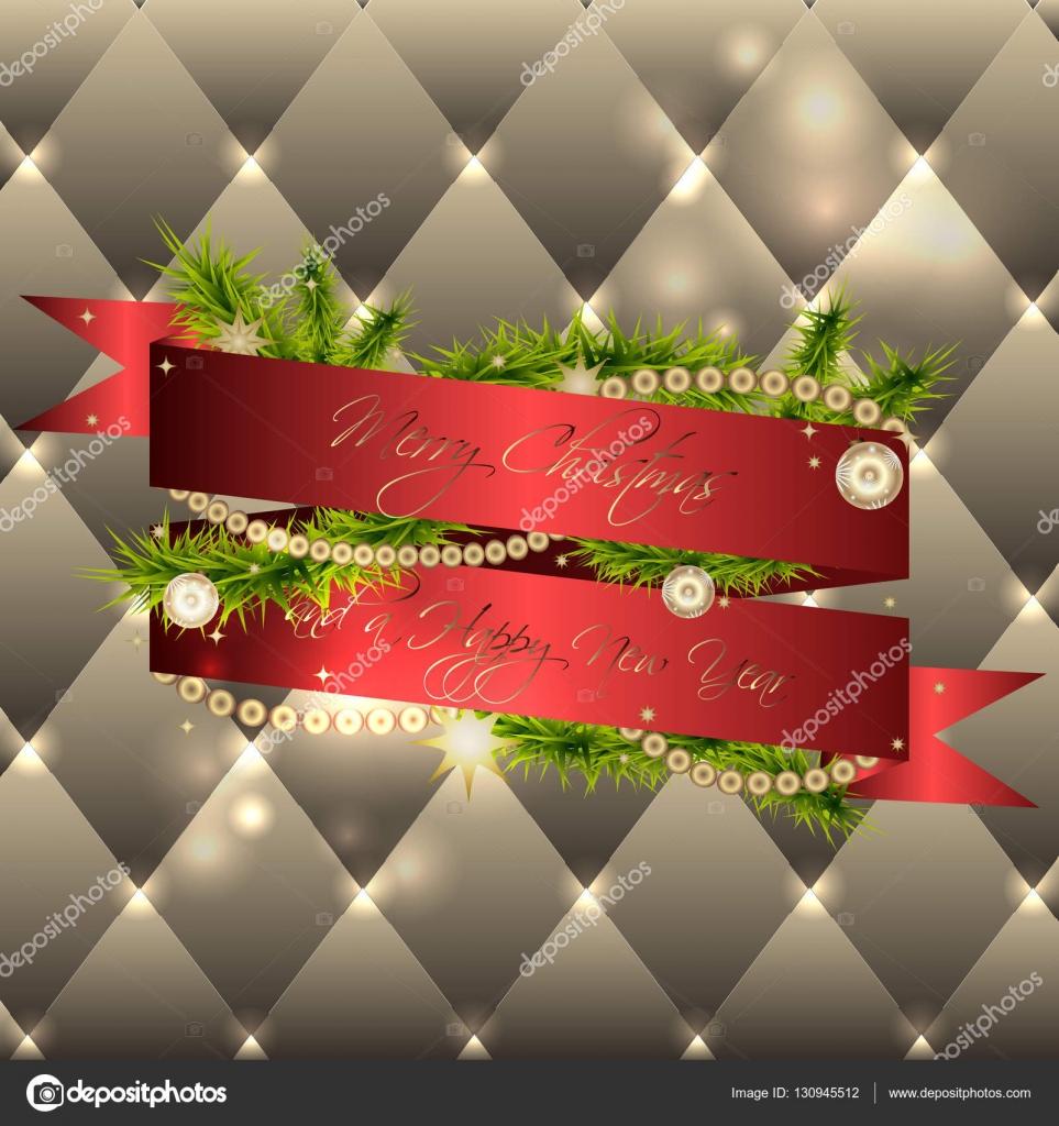 Kartki świąteczne Z Czerwoną Wstążką I Elementy Dekoracyjne