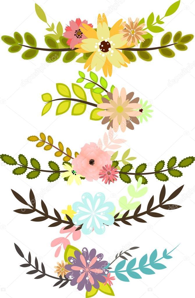 Conjunto de bordes decorativos con flores y hojas for Conjunto de espejos decorativos