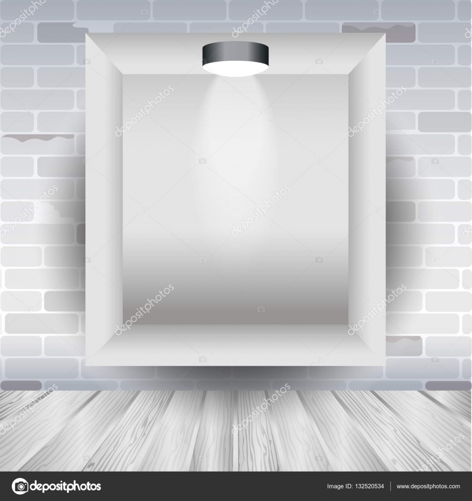 mock up frame in the room with brick wall and wooden floor, poster ...