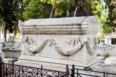 Detail of the tombs at the First Cemetery of Athens opened in 1837