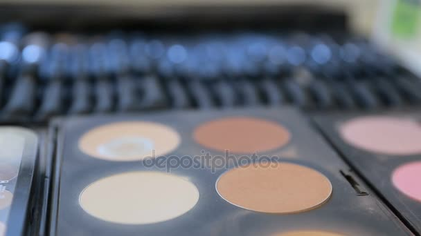 Close up view of makeup brush moving over skin and eyeshadow color palette