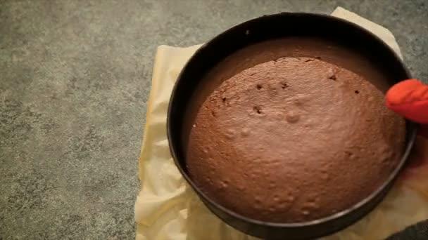Baker dát pečený čokoládový dort na kuchyňském stole. Domácí čokoládový dort. Čerstvé horké panettone velikonoční dort na stůl. Pečení Velikonoční koláč