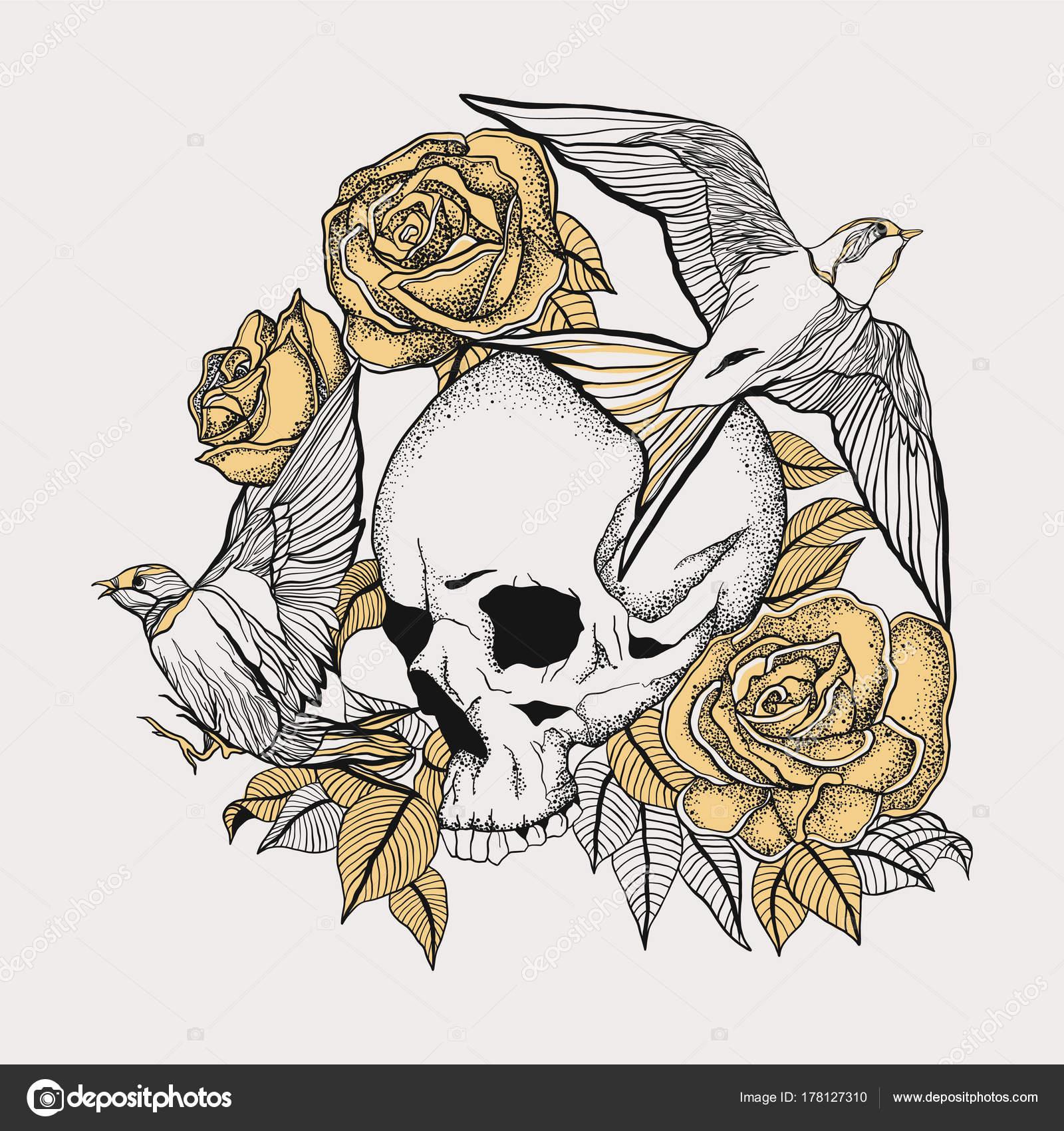 Tatuaje Calavera Con Rosas Golondrinas Flotantes Archivo Imágenes