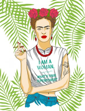 Magdalena Carmen Frida Kahlo y Calderon (6 July 1907  13 July 1954), usually known as Frida Kahlo, was a Mexican painter. She was married to Diego Rivera, also a well-known painter. Vector illustrati