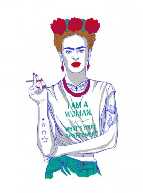 Magdalena Carmen Frida Kahlo y Calderon (6 July 1907  13 July 1954), usually known as Frida Kahlo, was a Mexican painter. She was married to Diego Rivera, also a well-known painter. Vector illustration.