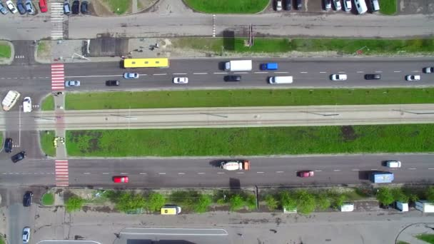 Top View car traffic in the city. Aerial