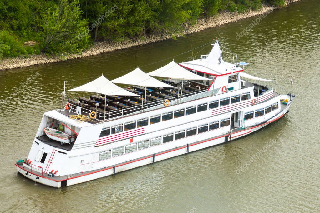 Cruise vessel of the Cologne Dusseldorfer line on river Rhine.