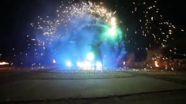 Fireworks. Fire show with dancing man. Amazing at night Part 7