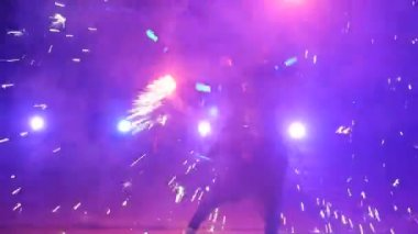 Fire show slow motion. Fireworks. Fire show with dancing man. Amazing at night. Part 39