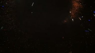 Slow motion. Fireworks. Fire show with dancing man. Amazing at night. Part 46