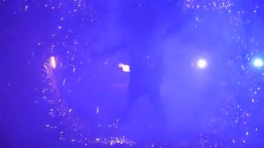 Slow motion. Fireworks. Fire show with dancing man. Amazing at night. Part 48