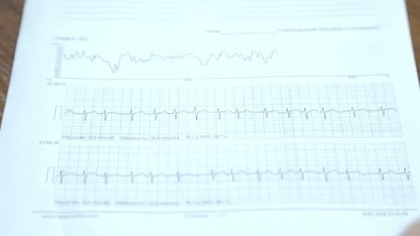 Analýza příznaků. Doktor se studiem kardiogram