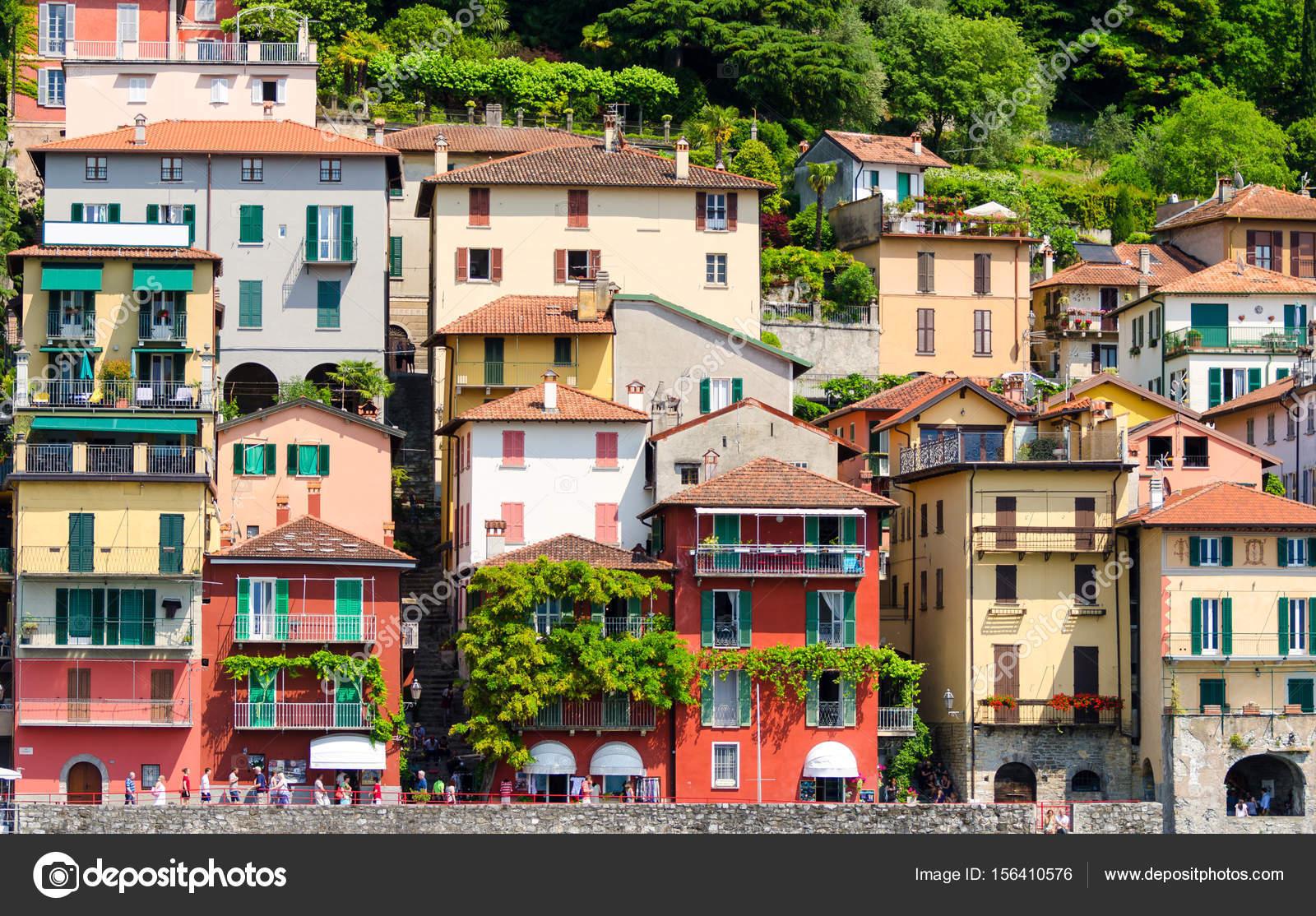Häuser Italien bunten häuser in der stadt varenna am comer see italien stockfoto