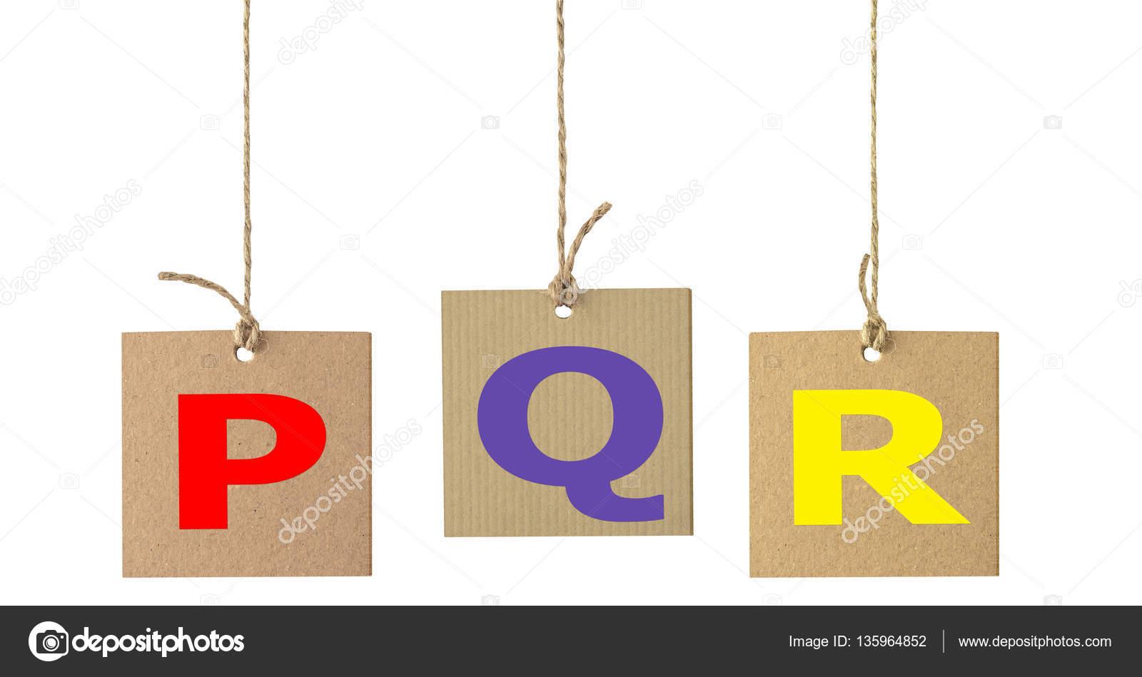 Alphabet Buchstaben auf Karton Etikett isoliert. Set 5 ...