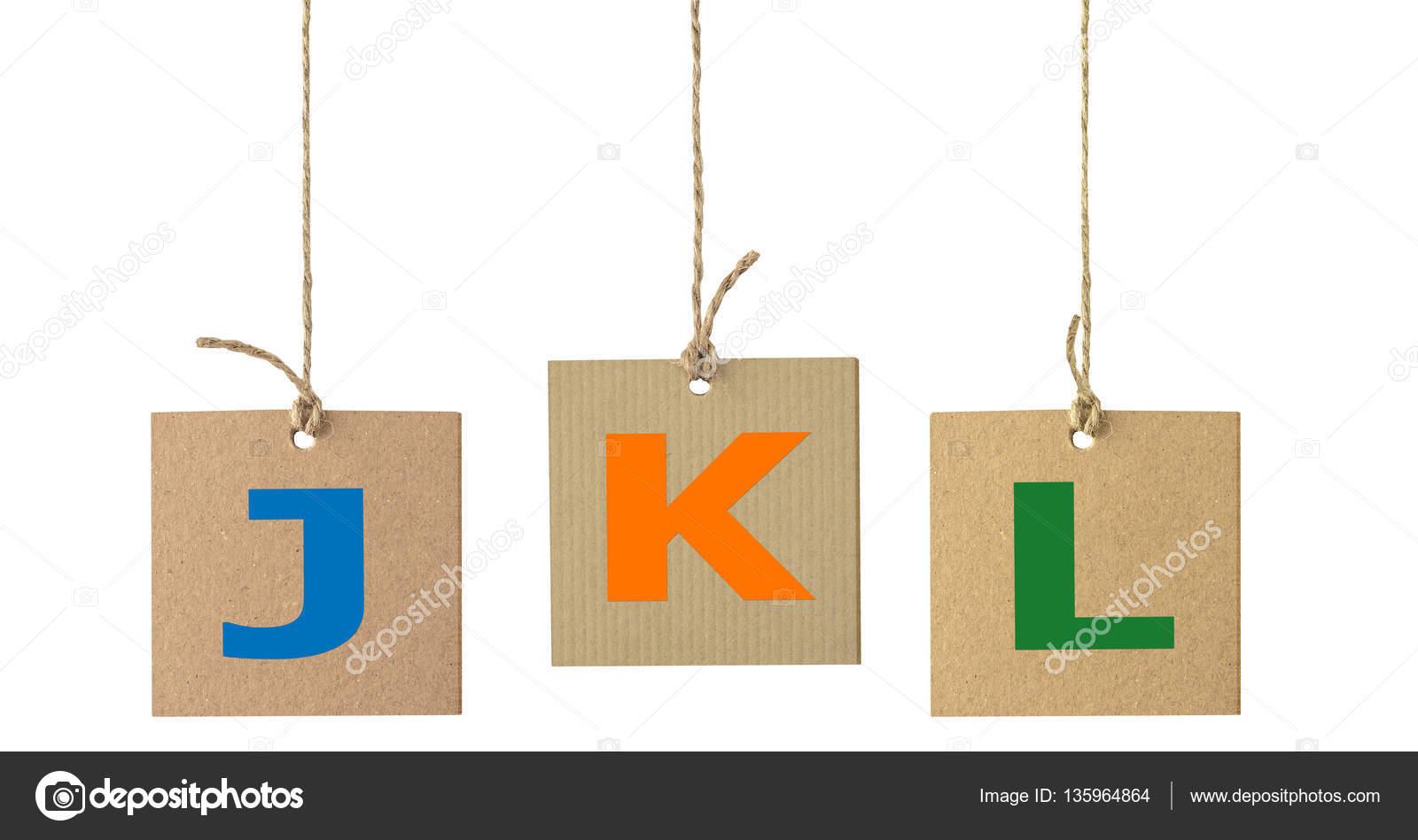 Alphabet Buchstaben auf Karton Etikett isoliert. Satz 3 ...