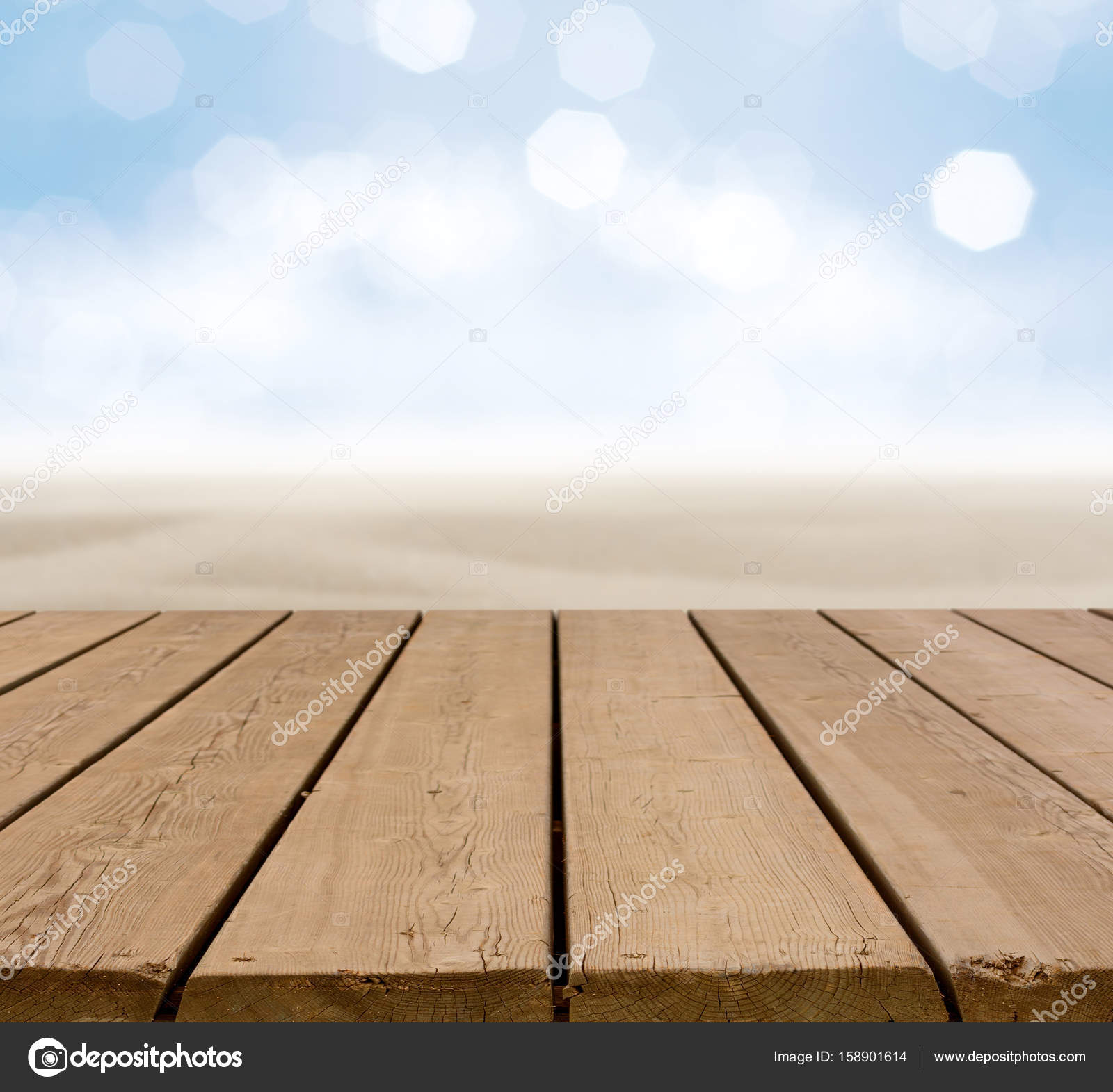 Wooden Terrace With Sand Beach And Sea. U2014 Stock Photo