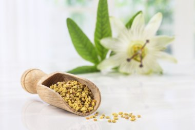bee pollen in the spoon on white whith passiflora flower