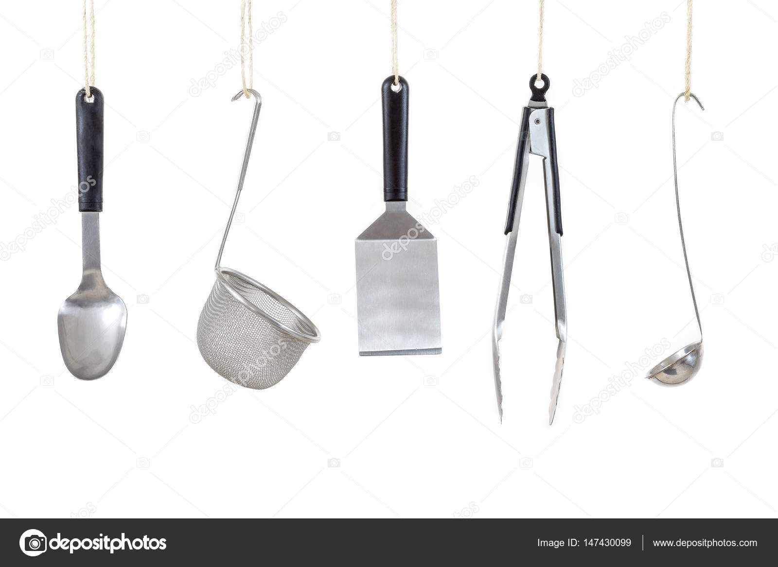 Vista dall alto di utensili da cucina professionali su priorità