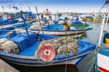 Traditional fishing boat in rHoumt Souk, Marina, Tunisia, fishing boats, Djerba island,
