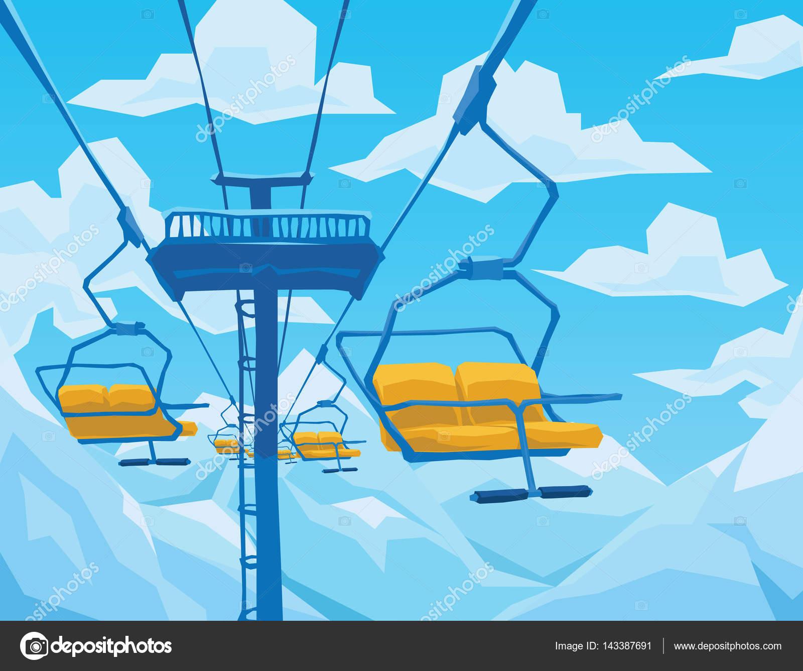 スキー場のリフト山の風景青い空と冬景色 ストックベクター