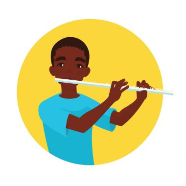 Musician playing flute. Boy flutist is inspired to play a classical musical instrument. Vector.