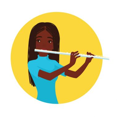 Musician playing flute. Girl flutist is inspired to play a classical musical instrument. Vector.
