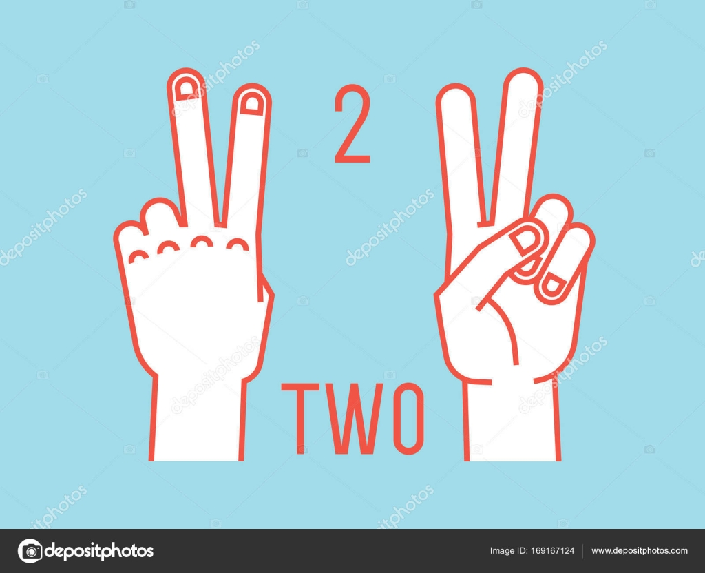 Count on fingers number two gesture stylized hands with index count on fingers number two gesture stylized hands with index and middle fingers up vector illustration with text on blue background buycottarizona