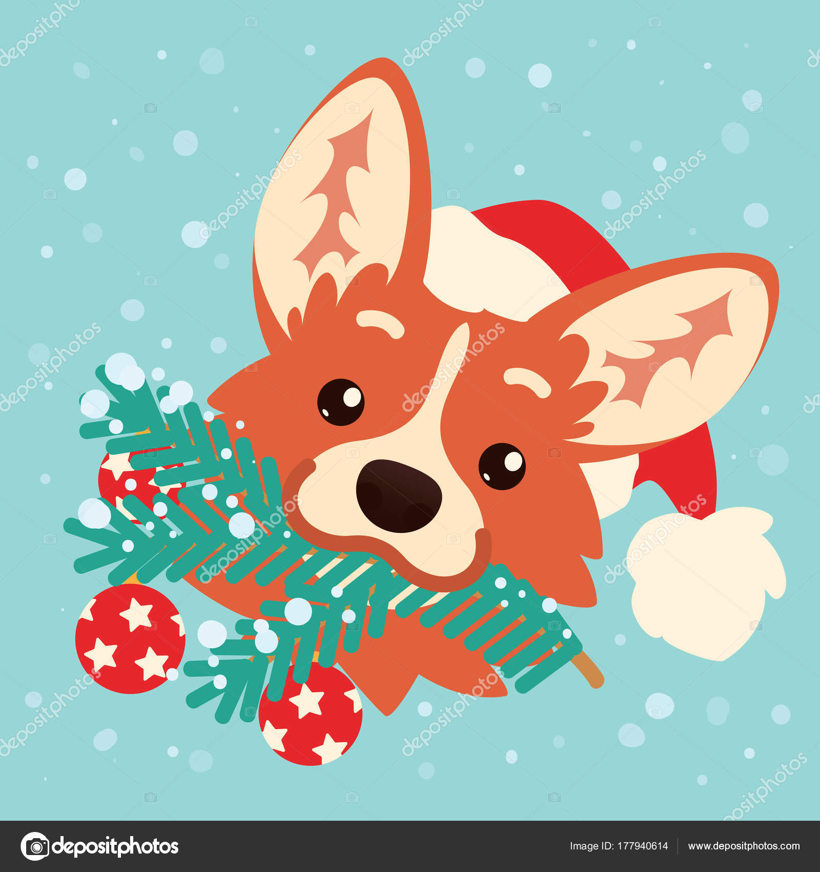 Cute corgi dog in santa hat with christmas tree branch in mouth colorful illustration of welsh corgi head in flat cartoon style on blue background with snow christmas card happy new year kristyandbryce Image collections