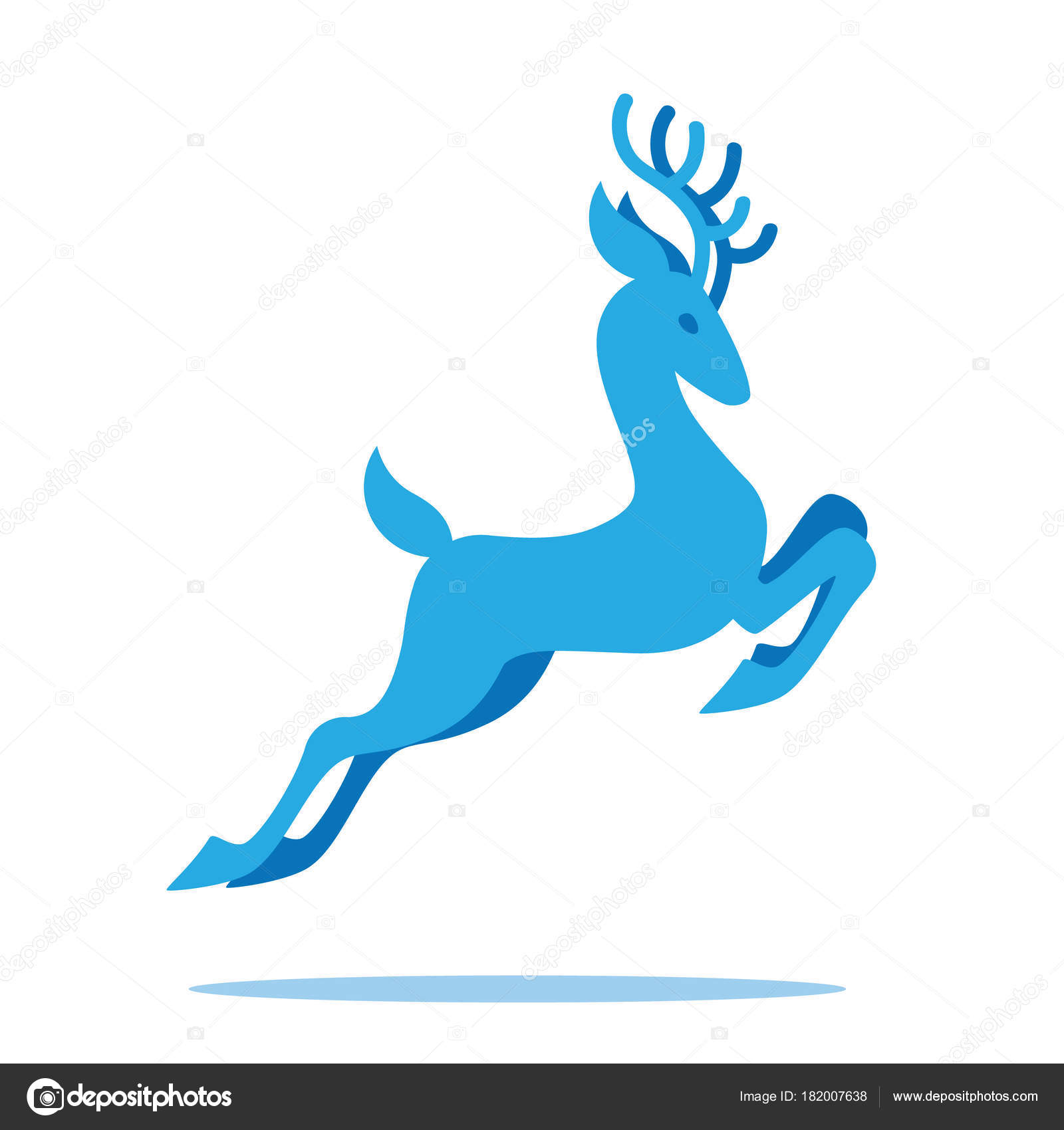 O Deer Graceful Deer With Antlers Jumping And Grazing. Vector Illustration Of Blue  Fairy Deer Silhouette In