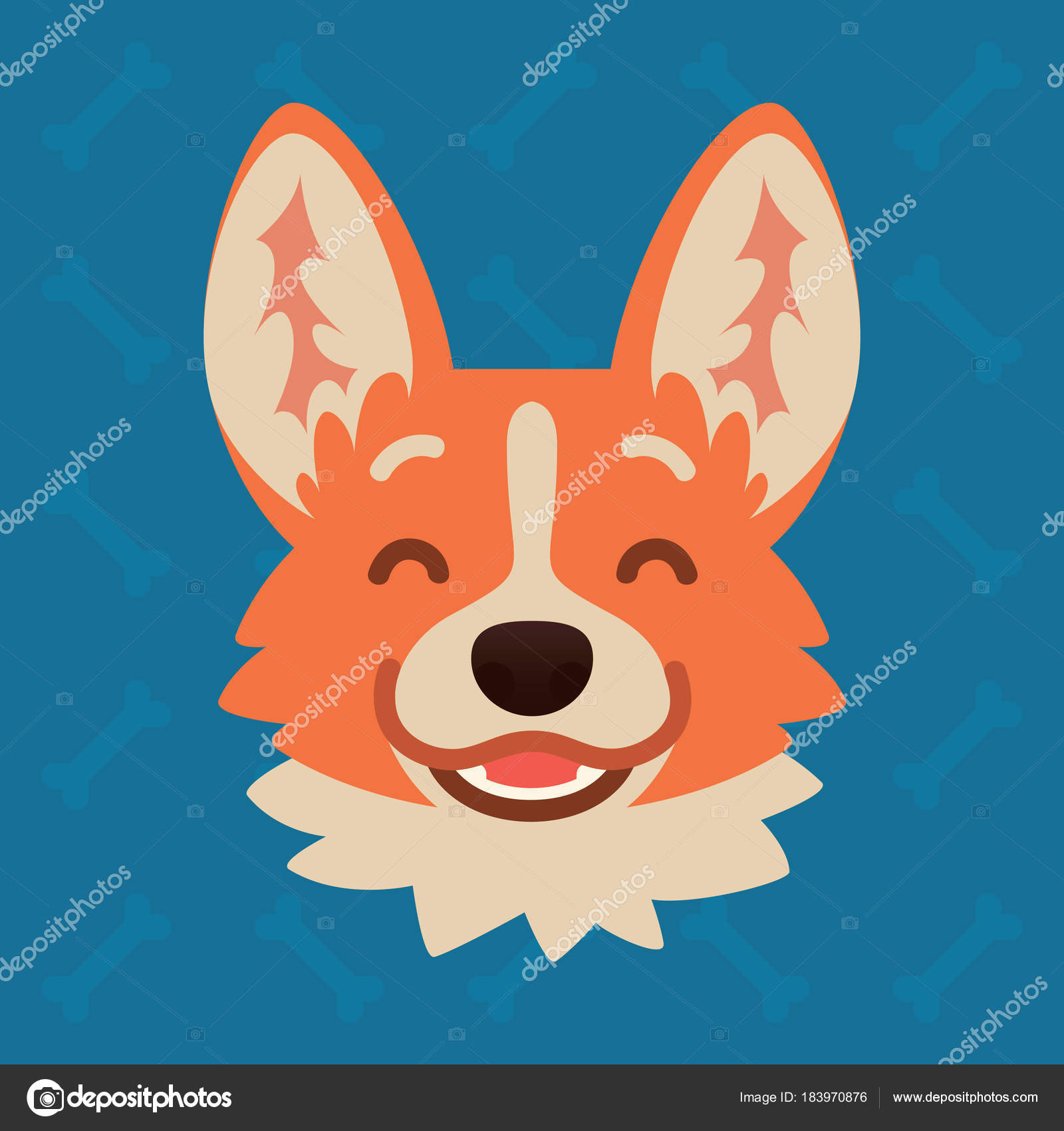 7eaca70c7 Vector illustration of cute dog in flat style shows happy emotion. Laugh  emoji.