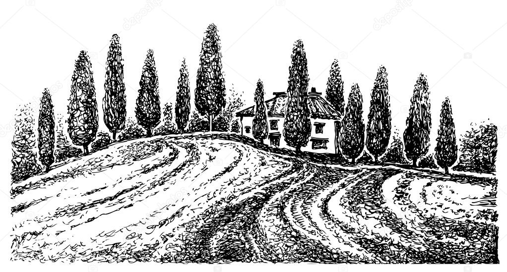 Tuscany landscape. Graphic hand drawn illustration. Vector graphics.