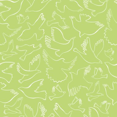 Seamless pattern with white lineal birds on olive background. Vector hand drawn birds.