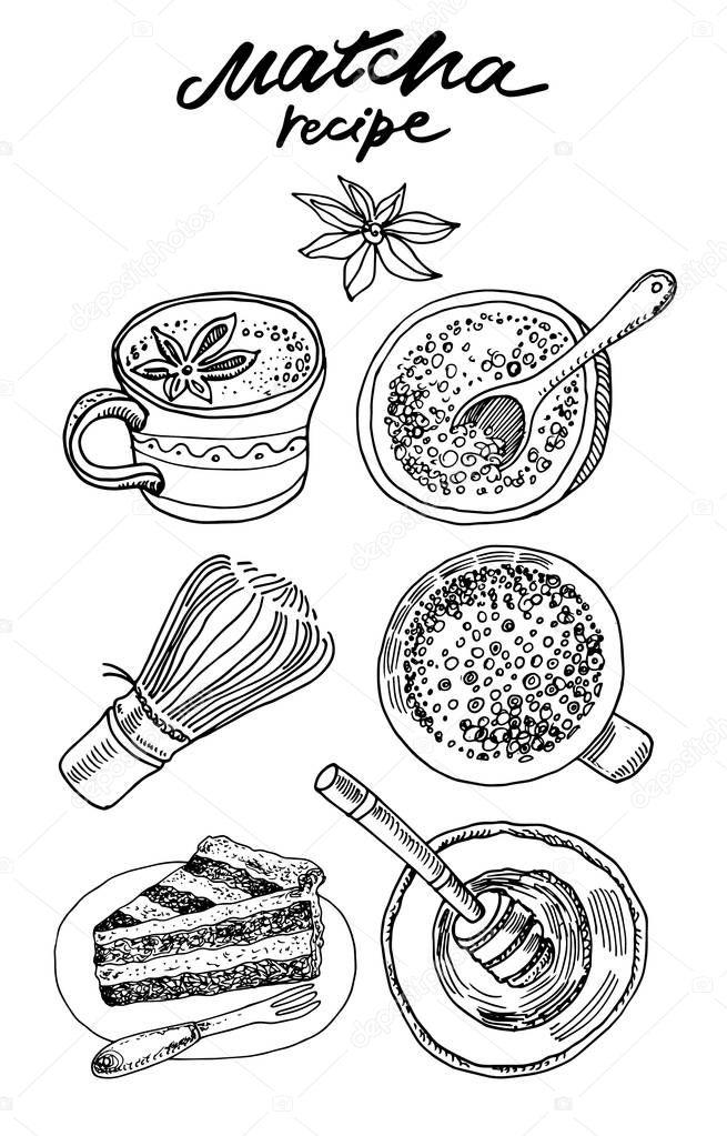 matcha tea vector hand drawn graphic illustration premium vector in adobe illustrator ai ai format encapsulated postscript eps eps format matcha tea vector hand drawn graphic